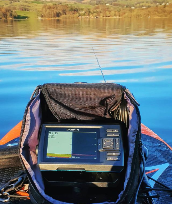 A picture of Garmin fish finder on a kayak