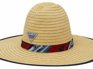 Columbia PFG Bahama Hat for Men – Red Spark Ombre Fish Stripe – S/M